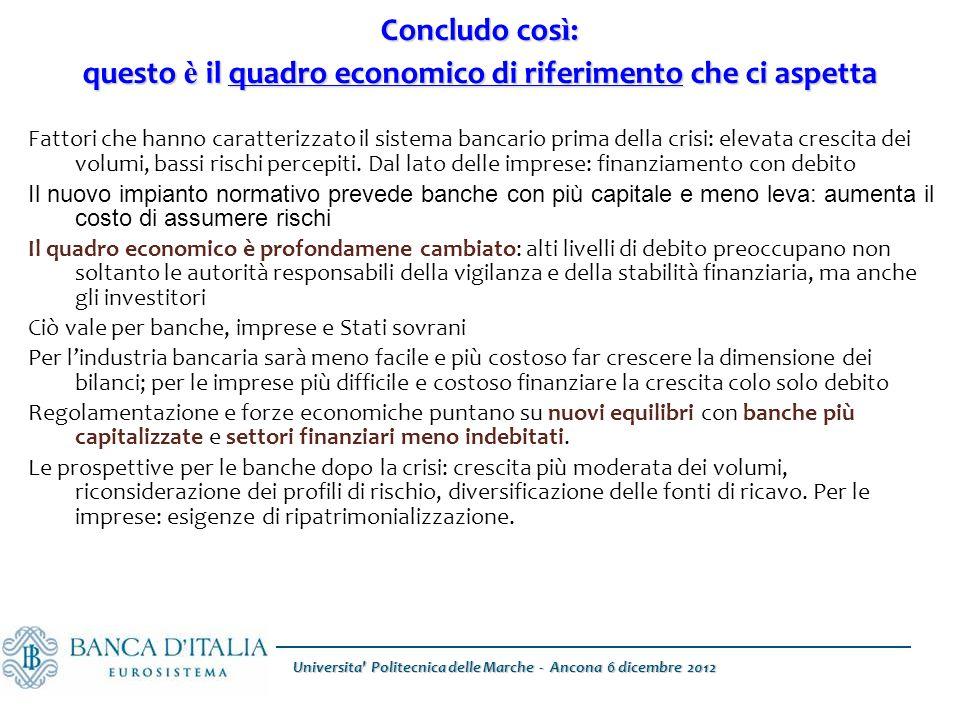 Concludo cos ì : questo è il quadro economico di riferimento che ci aspetta Fattori che hanno caratterizzato il sistema bancario prima della crisi: elevata crescita dei volumi, bassi rischi percepiti.