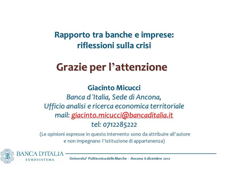 Universita' Politecnica delle Marche - Ancona 6 dicembre 2012 Rapporto tra banche e imprese: riflessioni sulla crisi Giacinto Micucci Banca d ' Italia