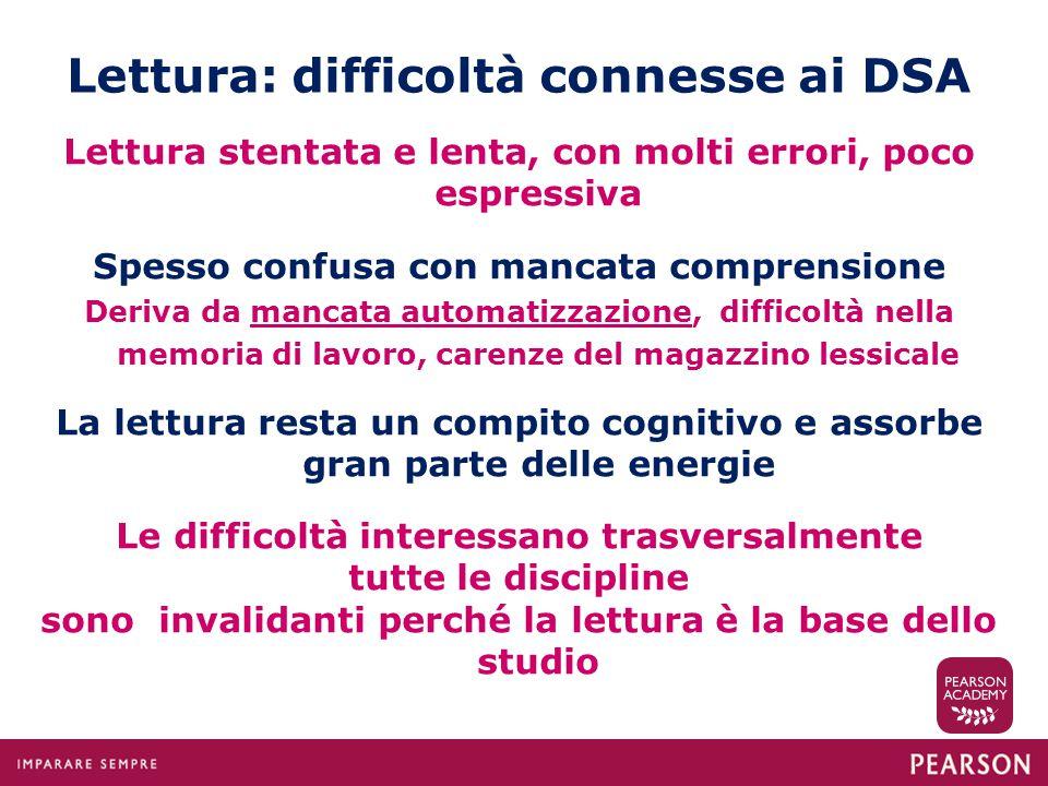 Lettura: difficoltà connesse ai DSA Lettura stentata e lenta, con molti errori, poco espressiva Spesso confusa con mancata comprensione Deriva da manc