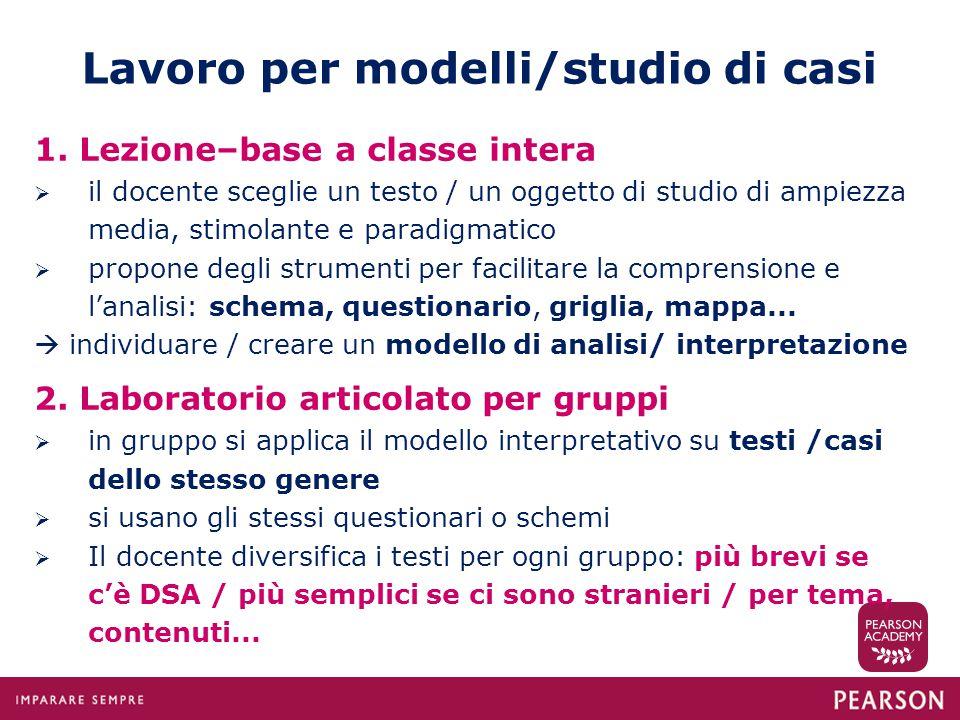 Lavoro per modelli/studio di casi 1. Lezione–base a classe intera  il docente sceglie un testo / un oggetto di studio di ampiezza media, stimolante e