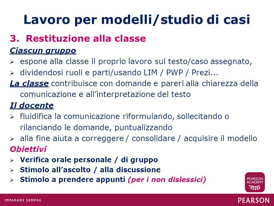 Lavoro per modelli/studio di casi 3. Restituzione alla classe Ciascun gruppo  espone alla classe il proprio lavoro sul testo/caso assegnato,  divide