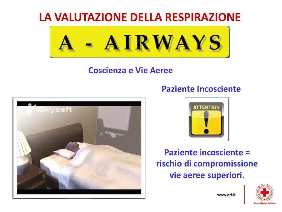 LA VALUTAZIONE DELLA RESPIRAZIONE Coscienza e Vie Aeree Paziente Incosciente Paziente incosciente = rischio di compromissione vie aeree superiori.