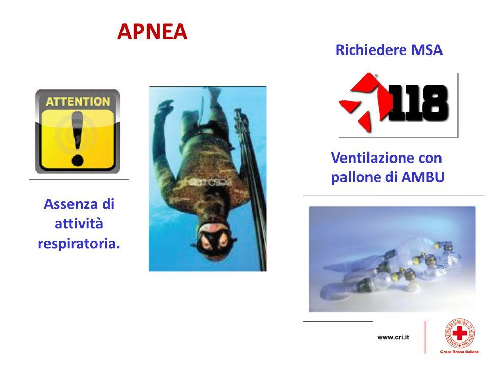 APNEA Assenza di attività respiratoria. Richiedere MSA Ventilazione con pallone di AMBU