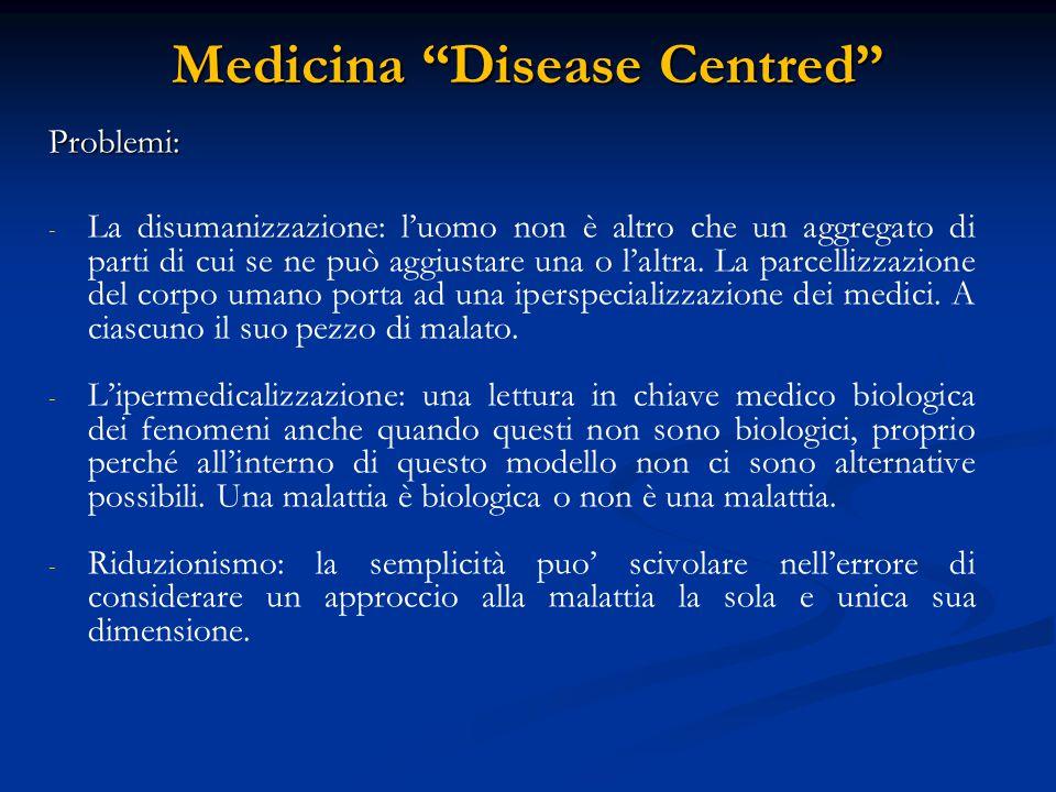 Medicina Patient Centred A A partire dagli anni '50 diverse teorie hanno cominciato ad accusare il medico e il sistema sanitario in generale di non considerare il paziente come PERSONA .