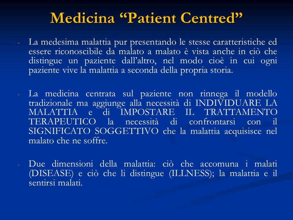 Medicina Patient Centred Il clinico dovrà disporre di un metodo che tenga conto della interconnessione tra aspetti biologici, psicologici e sociali e porsi come obiettivi: - - il trattamento della malattia; - - la cura del malato All'interno di una visita medica centrata sul paziente, il malato non occupa più una posizione passiva; gli esperti nella visita medica PATIENT CENTRED sono due: il medico esperto del DISEASE, l'altro che sale alla ribalta è il paziente stesso, esperto di ILLNESS
