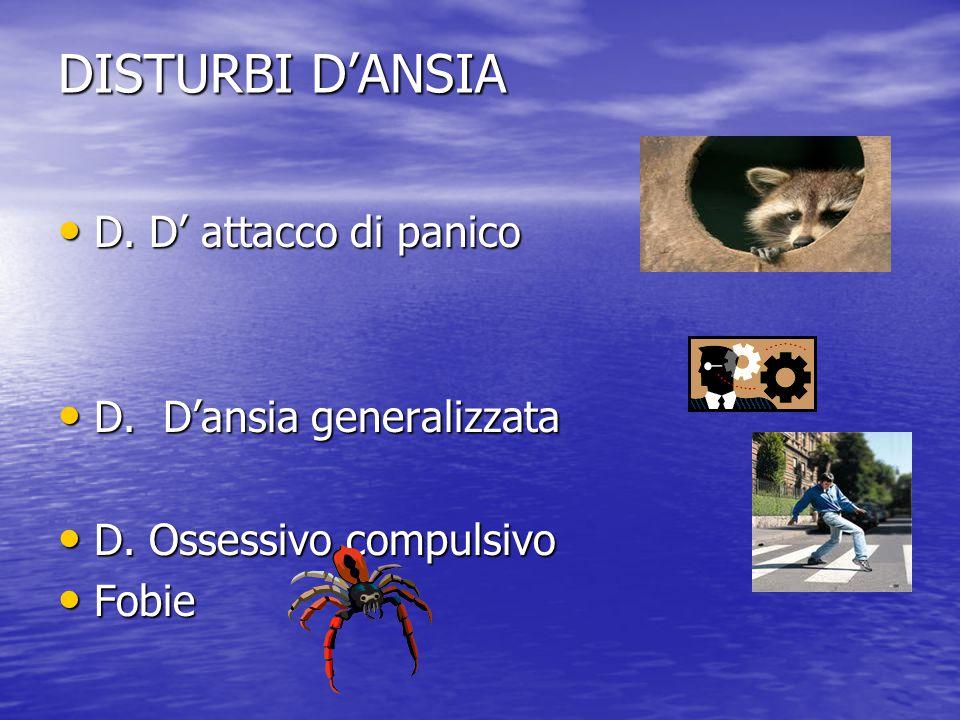 DISTURBI D'ANSIA D. D' attacco di panico D. D' attacco di panico D. D'ansia generalizzata D. D'ansia generalizzata D. Ossessivo compulsivo D. Ossessiv
