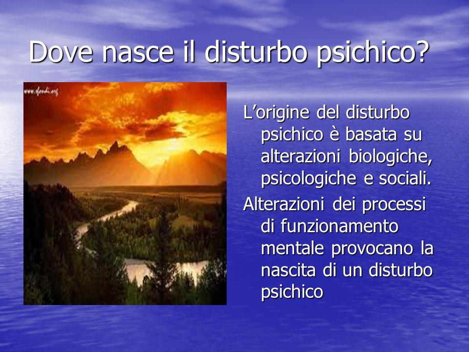 Dove nasce il disturbo psichico? L'origine del disturbo psichico è basata su alterazioni biologiche, psicologiche e sociali. Alterazioni dei processi