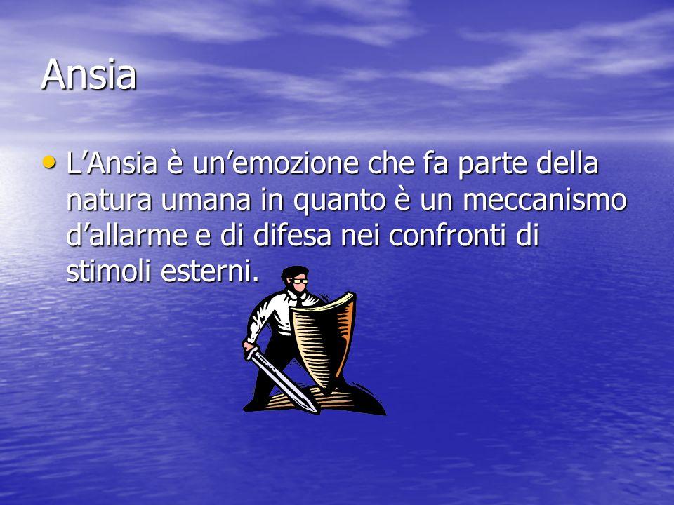 Ansia L'Ansia è un'emozione che fa parte della natura umana in quanto è un meccanismo d'allarme e di difesa nei confronti di stimoli esterni. L'Ansia
