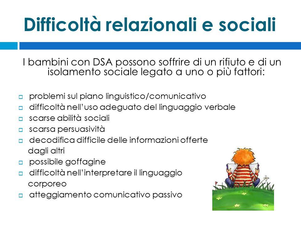 I bambini con DSA possono soffrire di un rifiuto e di un isolamento sociale legato a uno o più fattori:  problemi sul piano linguistico/comunicativo