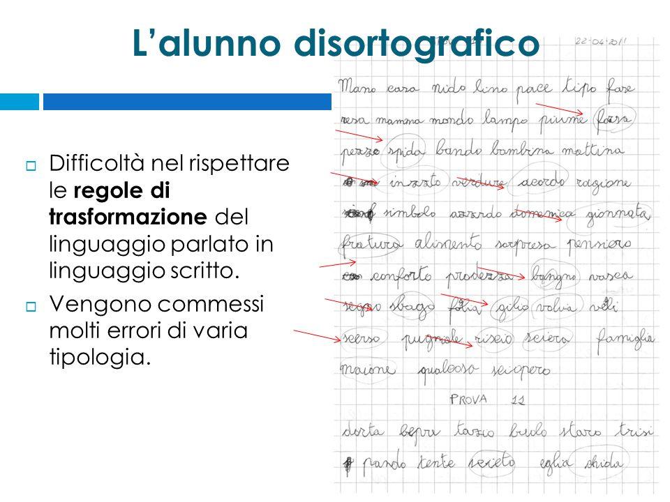 L'alunno disortografico  Difficoltà nel rispettare le regole di trasformazione del linguaggio parlato in linguaggio scritto.  Vengono commessi molti