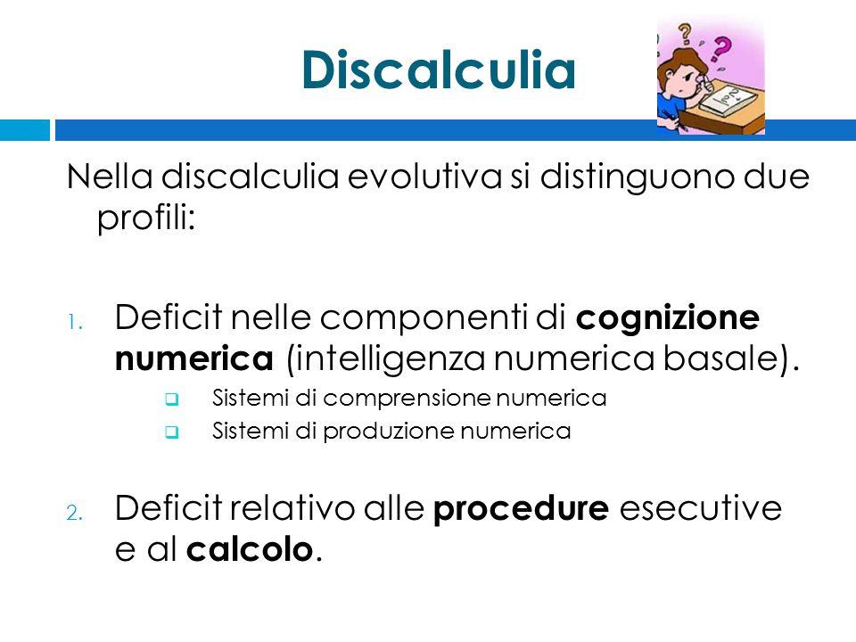 Discalculia Nella discalculia evolutiva si distinguono due profili: 1. Deficit nelle componenti di cognizione numerica (intelligenza numerica basale).