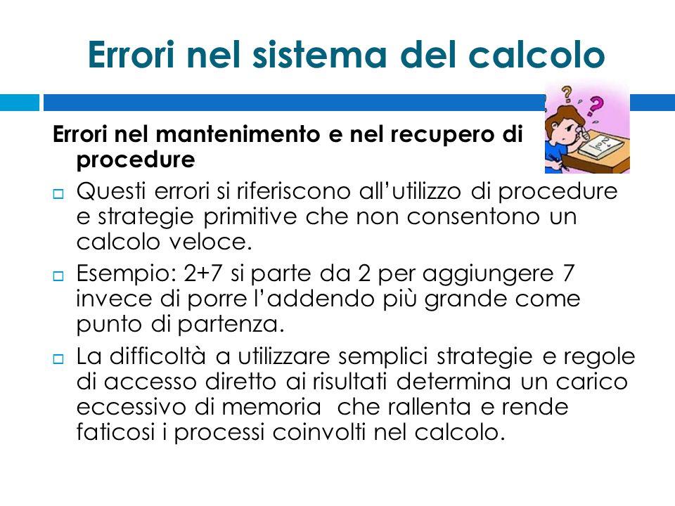 Errori nel sistema del calcolo Errori nel mantenimento e nel recupero di procedure  Questi errori si riferiscono all'utilizzo di procedure e strategie primitive che non consentono un calcolo veloce.