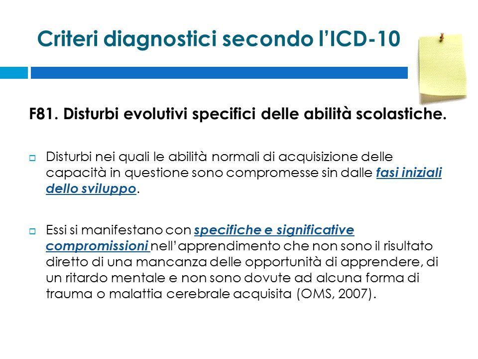 Criteri diagnostici secondo l'ICD-10 F81. Disturbi evolutivi specifici delle abilità scolastiche.  Disturbi nei quali le abilità normali di acquisizi