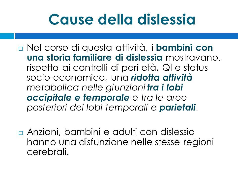 Cause della dislessia  Nel corso di questa attività, i bambini con una storia familiare di dislessia mostravano, rispetto ai controlli di pari età, Q