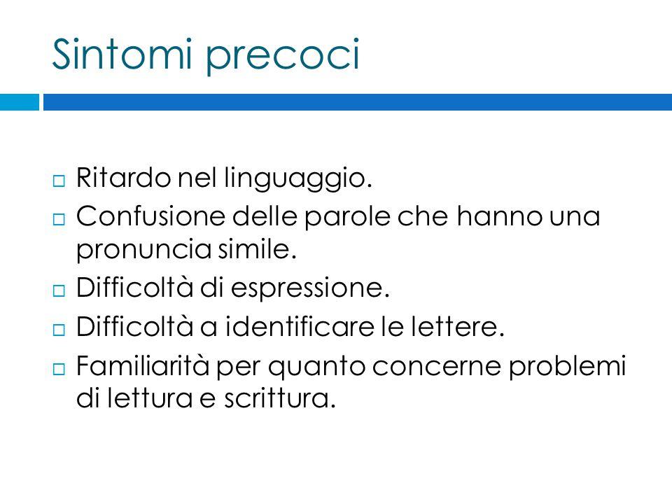 Sintomi precoci  Ritardo nel linguaggio.  Confusione delle parole che hanno una pronuncia simile.  Difficoltà di espressione.  Difficoltà a identi