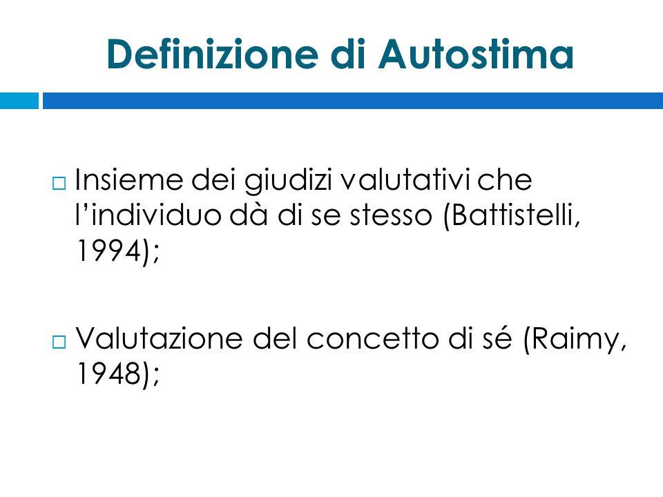 Definizione di Autostima  Insieme dei giudizi valutativi che l'individuo dà di se stesso (Battistelli, 1994);  Valutazione del concetto di sé (Raimy, 1948);