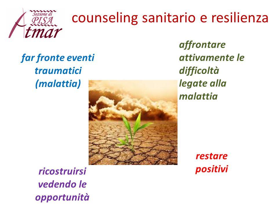 counseling sanitario e resilienza restare positivi far fronte eventi traumatici (malattia) affrontare attivamente le difficoltà legate alla malattia r
