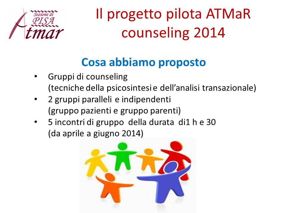 Il progetto pilota ATMaR counseling 2014 Gruppi di counseling (tecniche della psicosintesi e dell'analisi transazionale) 2 gruppi paralleli e indipend