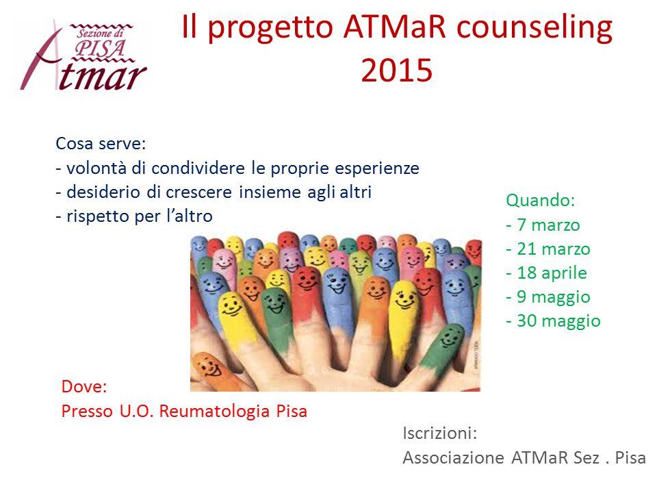 Il progetto ATMaR counseling 2015 Cosa serve: - volontà di condividere le proprie esperienze - desiderio di crescere insieme agli altri - rispetto per