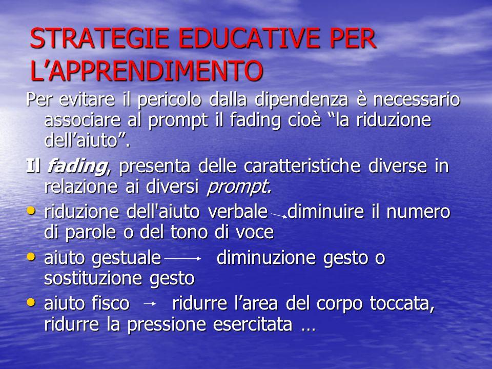 STRATEGIE EDUCATIVE PER L'APPRENDIMENTO Per evitare il pericolo dalla dipendenza è necessario associare al prompt il fading cioè la riduzione dell'aiuto .