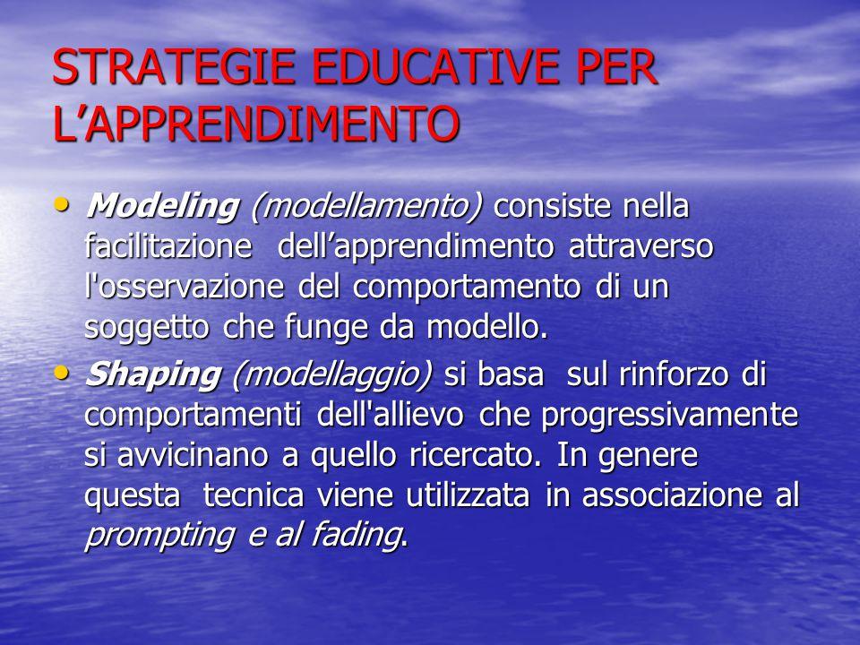 STRATEGIE EDUCATIVE PER L'APPRENDIMENTO Modeling (modellamento) consiste nella facilitazione dell'apprendimento attraverso l osservazione del comportamento di un soggetto che funge da modello.