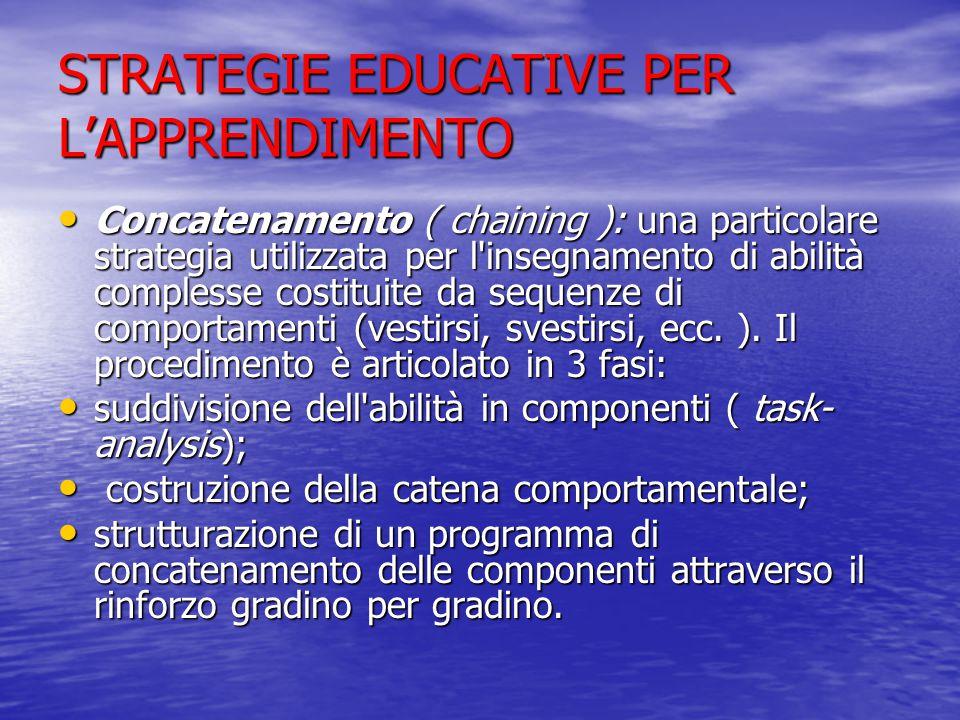 STRATEGIE EDUCATIVE PER L'APPRENDIMENTO Concatenamento ( chaining ): una particolare strategia utilizzata per l insegnamento di abilità complesse costituite da sequenze di comportamenti (vestirsi, svestirsi, ecc.