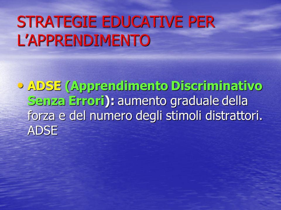 STRATEGIE EDUCATIVE PER L'APPRENDIMENTO ADSE (Apprendimento Discriminativo Senza Errori): aumento graduale della forza e del numero degli stimoli distrattori.