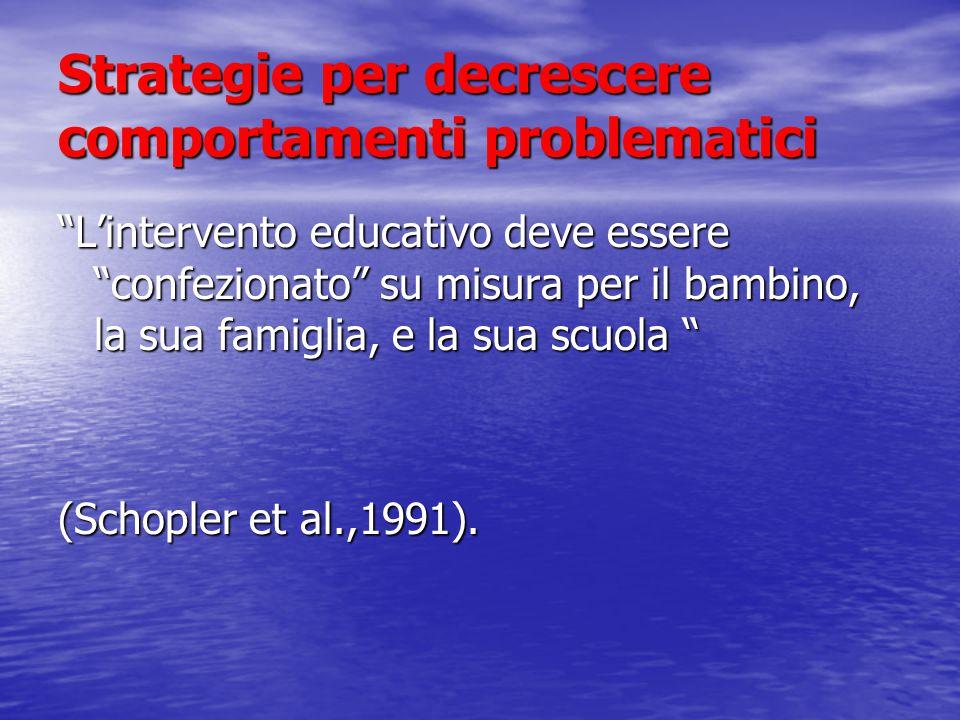 Strategie per decrescere comportamenti problematici L'intervento educativo deve essere confezionato su misura per il bambino, la sua famiglia, e la sua scuola (Schopler et al.,1991).
