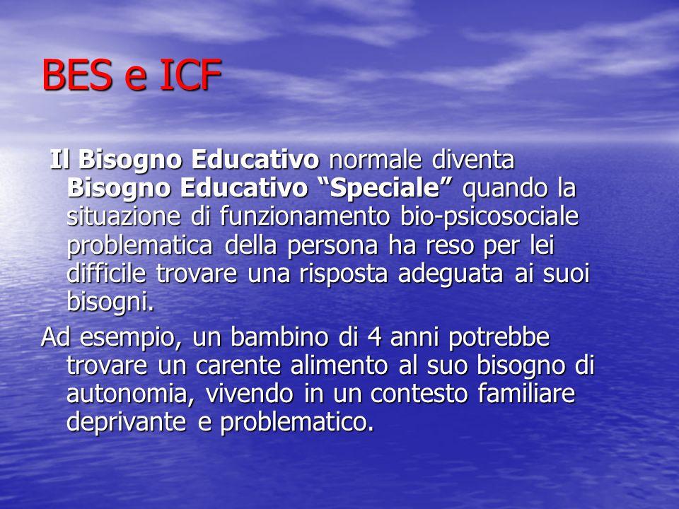 BES e ICF Il Bisogno Educativo normale diventa Bisogno Educativo Speciale quando la situazione di funzionamento bio-psicosociale problematica della persona ha reso per lei difficile trovare una risposta adeguata ai suoi bisogni.