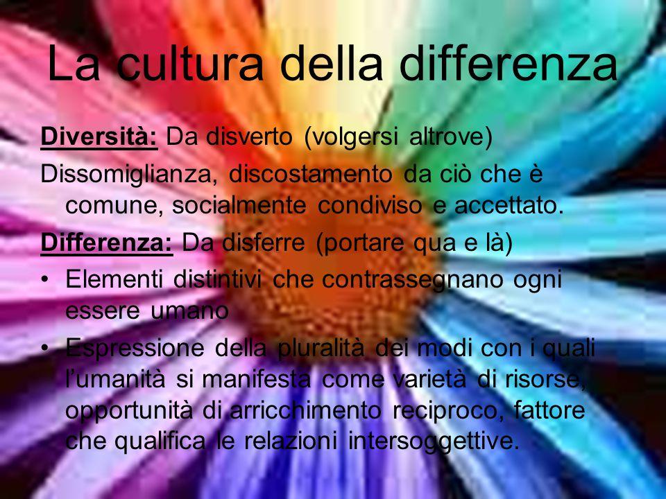 La cultura della differenza Diversità: Da disverto (volgersi altrove) Dissomiglianza, discostamento da ciò che è comune, socialmente condiviso e accettato.