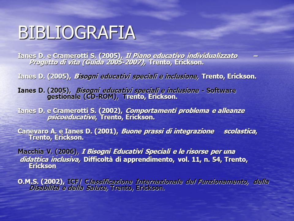 BIBLIOGRAFIA Ianes D.e Cramerotti S.