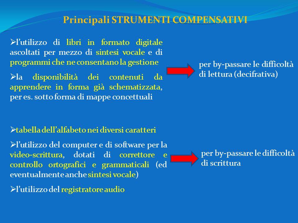  l'utilizzo di libri in formato digitale ascoltati per mezzo di sintesi vocale e di programmi che ne consentano la gestione  la disponibilità dei contenuti da apprendere in forma già schematizzata, per es.