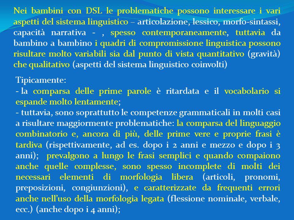 Nei bambini con DSL le problematiche possono interessare i vari aspetti del sistema linguistico – articolazione, lessico, morfo-sintassi, capacità nar