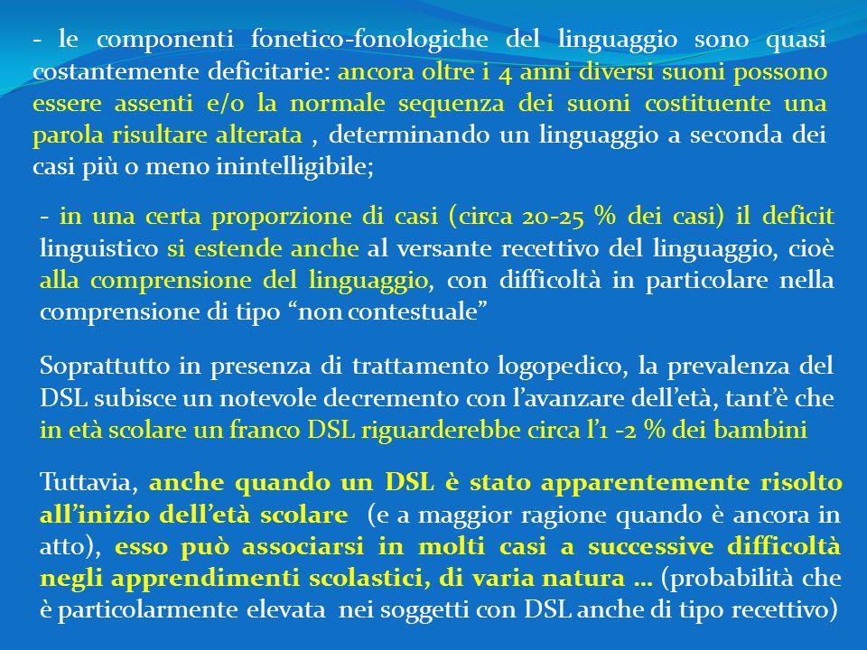- le componenti fonetico-fonologiche del linguaggio sono quasi costantemente deficitarie: ancora oltre i 4 anni diversi suoni possono essere assenti e