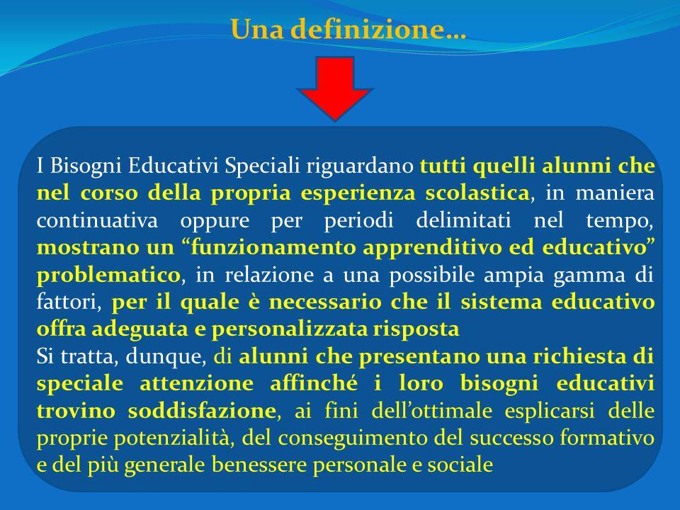 Una definizione… I Bisogni Educativi Speciali riguardano tutti quelli alunni che nel corso della propria esperienza scolastica, in maniera continuativ