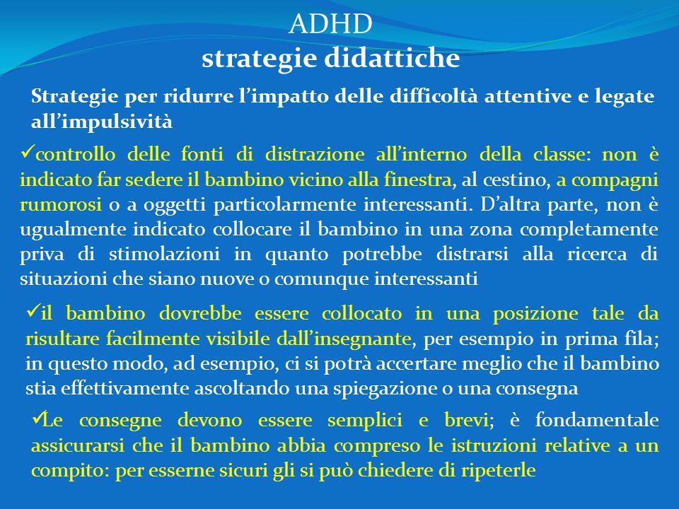ADHD strategie didattiche Strategie per ridurre l'impatto delle difficoltà attentive e legate all'impulsività controllo delle fonti di distrazione all