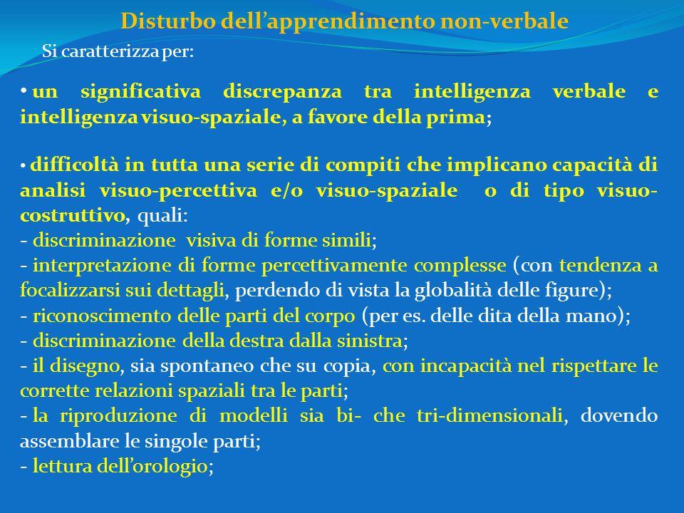 Disturbo dell'apprendimento non-verbale un significativa discrepanza tra intelligenza verbale e intelligenza visuo-spaziale, a favore della prima ; difficoltà in tutta una serie di compiti che implicano capacità di analisi visuo-percettiva e/o visuo-spaziale o di tipo visuo- costruttivo, quali: - discriminazione visiva di forme simili; - interpretazione di forme percettivamente complesse (con tendenza a focalizzarsi sui dettagli, perdendo di vista la globalità delle figure); - riconoscimento delle parti del corpo (per es.