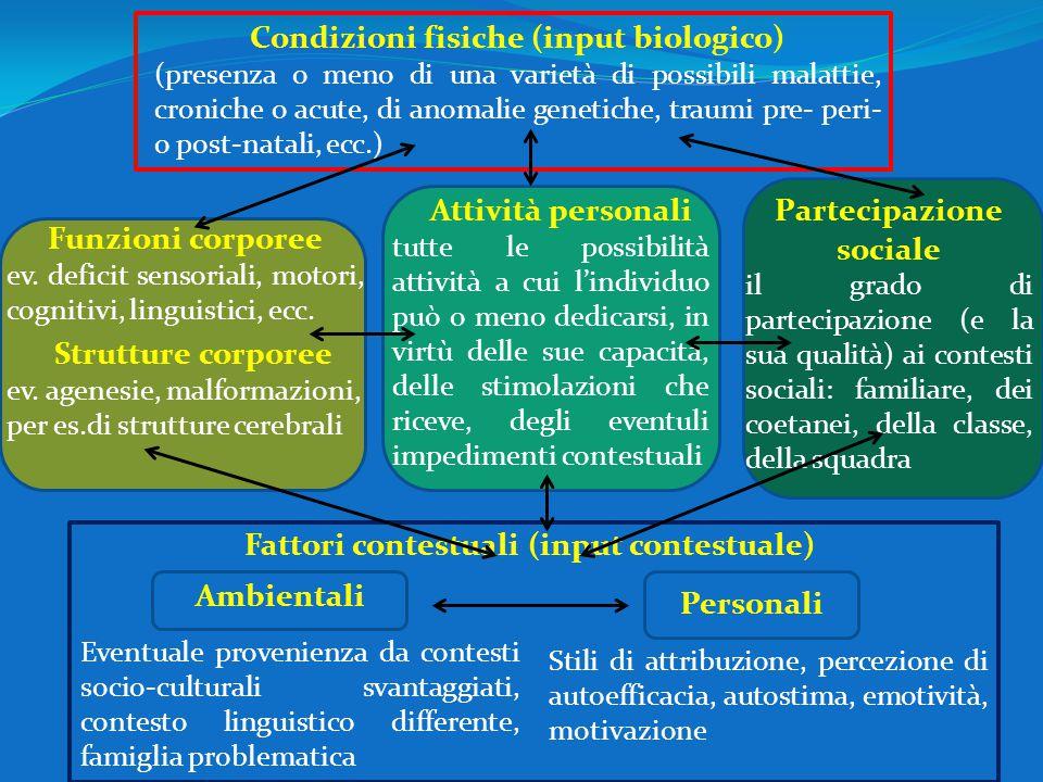 Condizioni fisiche (input biologico) (presenza o meno di una varietà di possibili malattie, croniche o acute, di anomalie genetiche, traumi pre- peri-