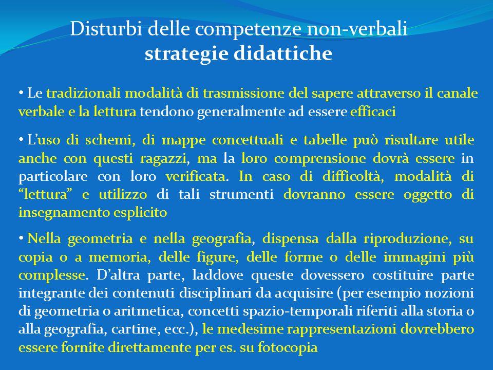 Disturbi delle competenze non-verbali strategie didattiche Le tradizionali modalità di trasmissione del sapere attraverso il canale verbale e la lettu