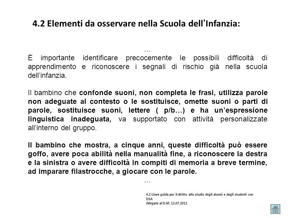 4.2 Elementi da osservare nella Scuola dell'Infanzia: … È importante identificare precocemente le possibili difficoltà di apprendimento e riconoscere