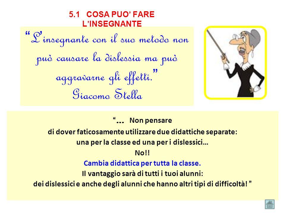 """5.1 COSA PUO' FARE L'INSEGNANTE """" L'insegnante con il suo metodo non può causare la dislessia ma può aggravarne gli effetti."""" Giacomo Stella """" … Non p"""