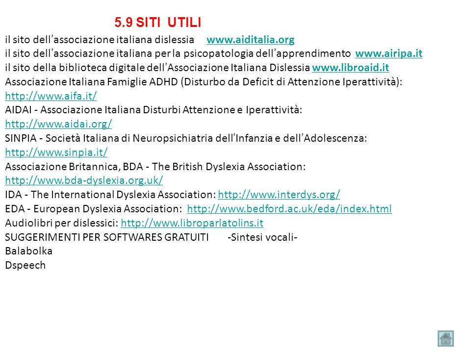 il sito dell'associazione italiana dislessia www.aiditalia.orgwww.aiditalia.org il sito dell'associazione italiana per la psicopatologia dell'apprendi