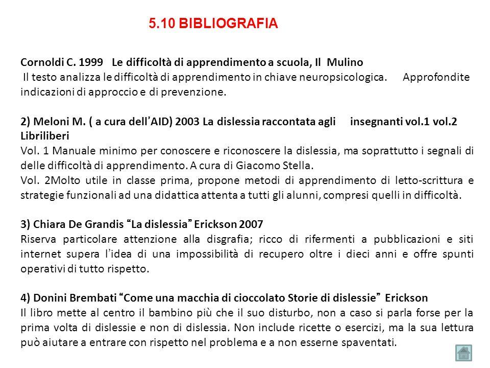 5.10 BIBLIOGRAFIA Cornoldi C. 1999 Le difficoltà di apprendimento a scuola, Il Mulino Il testo analizza le difficoltà di apprendimento in chiave neuro