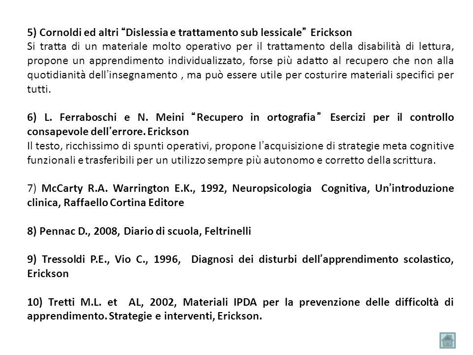 """5) Cornoldi ed altri """"Dislessia e trattamento sub lessicale"""" Erickson Si tratta di un materiale molto operativo per il trattamento della disabilità di"""
