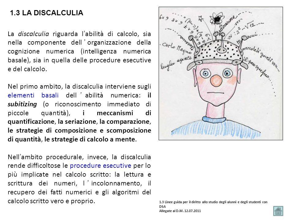 1.3 LA DISCALCULIA La discalculia riguarda l'abilità di calcolo, sia nella componente dell'organizzazione della cognizione numerica (intelligenza nume