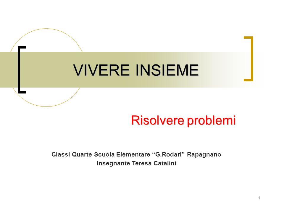 """1 VIVERE INSIEME Risolvere problemi Classi Quarte Scuola Elementare """"G.Rodari"""" Rapagnano Insegnante Teresa Catalini"""