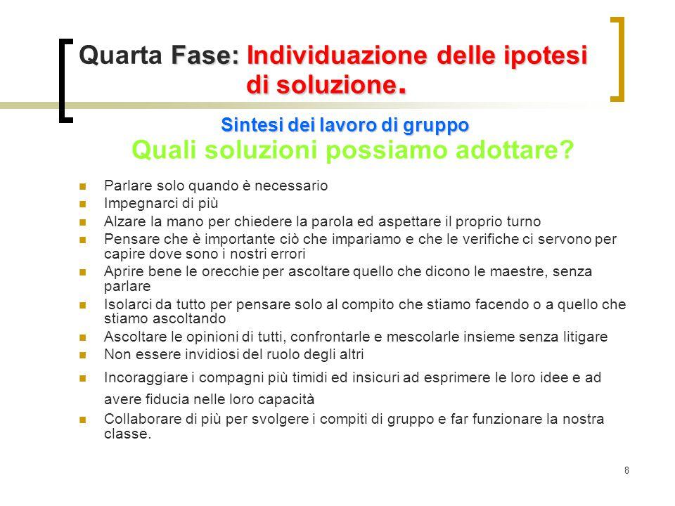 8 Fase: Individuazione delle ipotesi di soluzione. Quarta Fase: Individuazione delle ipotesi di soluzione. Sintesi dei lavoro di gruppo Quali soluzion