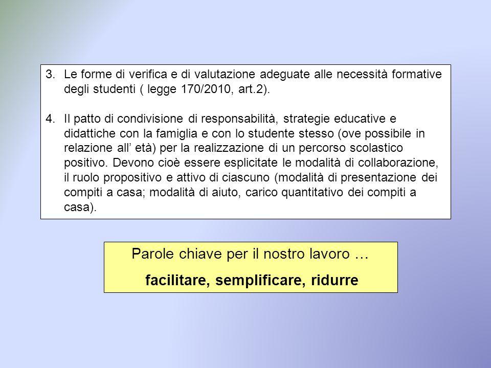 3.Le forme di verifica e di valutazione adeguate alle necessità formative degli studenti ( legge 170/2010, art.2). 4.Il patto di condivisione di respo