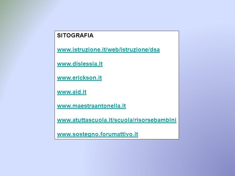 SITOGRAFIA www.istruzione.it/web/istruzione/dsa www.dislessia.it www.erickson.it www.aid.it www.maestraantonella.it www.atuttascuola.it/scuola/risorse
