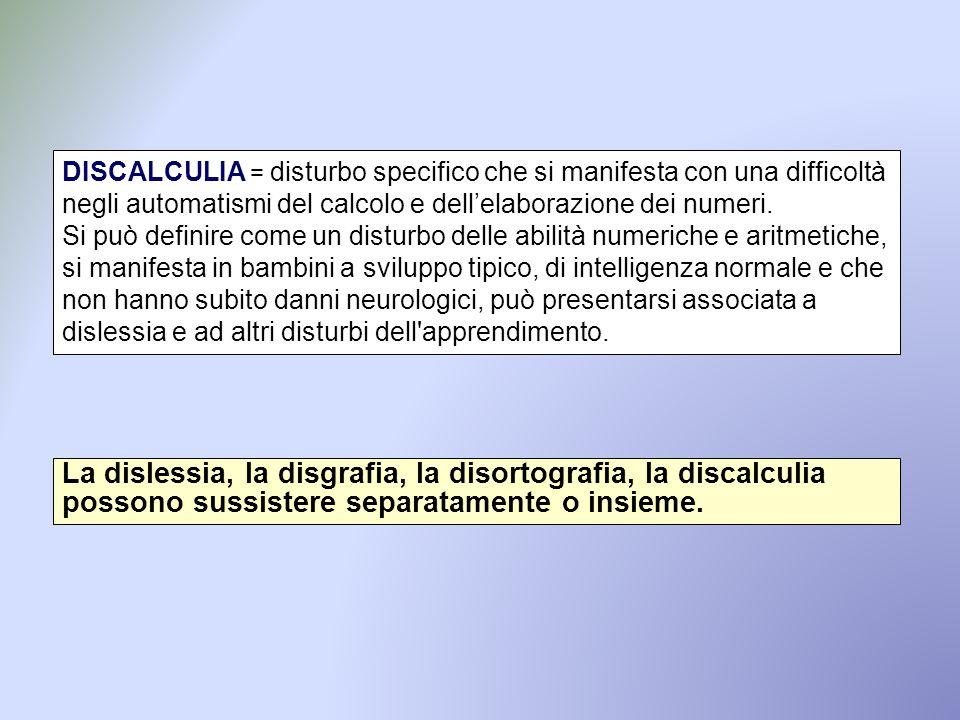 DISCALCULIA = disturbo specifico che si manifesta con una difficoltà negli automatismi del calcolo e dell'elaborazione dei numeri. Si può definire com